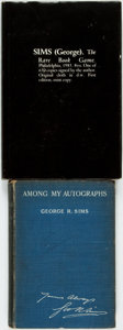 Books:Books about Books, George R. Sims. Among My Autographs. London: Chatto & Windus, 1904.. Original full blue cloth. Rubbing, wear, an... (Total: 2 Items)