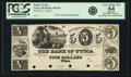Obsoletes By State:Michigan, Utica, MI - Bank of Utica $5 18__ MI-450 G6, Lee UTI-1-4. Proof.PCGS Very Choice New 64 Apparent.. ...