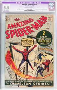The Amazing Spider-Man #1 (Marvel, 1963) CGC Apparent FN- 5.5 Moderate to Extensive (B-4) Off-white to white pages
