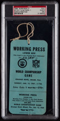 Football Collectibles:Tickets, 1969 Super Bowl III Full Press Pass....
