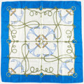 """Luxury Accessories:Accessories, Gucci Blue & White Silk Anchor Scarf . Very GoodCondition . 34"""" Width x 34"""" Length . ..."""