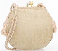 "Judith Leiber Gold Suede Evening Bag With Tassel Excellent Condition 5.75"" Width x 5.5"" Height x"