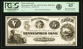 Obsoletes By State:Minnesota, Minneapolis, MN - Minneapolis Bank $5 March 1, 1864 MN-80 UNL,Hewitt B340-D5a. Proof. PCGS Choice New 63.. ...