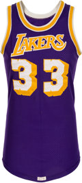 Basketball Collectibles:Uniforms, 1981-86 Kareem Abdul-Jabbar Game Worn Los Angeles Lakers Jersey,MEARS A10....