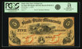Obsoletes By State:Minnesota, St. Paul, MN - Bank of the State of Minnesota $5 Dec. 1, 1858MN-160 G2b, Hewitt D1-2. PCGS Fine 15 Apparent.. ...