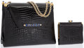 "Luxury Accessories:Bags, Shiny Black Crocodile Shoulder Bag & Wallet with Blue Lapis& Pyrite Detail. Very Good Condition. 9.5"" Width x 8""Heig... (Total: 2 Items)"