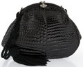 "Luxury Accessories:Bags, Shiny Black Crocodile Evening Bag with Tassel. Good to Very GoodCondition. 7.5"" Width x 6.5"" Height x 2"" Depth, 14"" S..."
