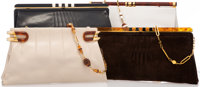 Mangiamelli Set of Four; Brown Suede, Navy Blue, Beige & White Lambskin Leather Clutch Bags Good to Very Good C