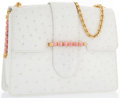 "Luxury Accessories:Bags, White Ostrich Shoulder Bag with Gold & Rhodocrosite Hardware.Very Good Condition. 9.5"" Width x 7"" Height x 3"" Depth,..."