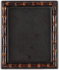 "Gucci Black Leather & Bamboo Picture Frame Very Good Condition 14"" Width x 12"" Height <"