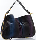 """Luxury Accessories:Bags, Jimmy Choo Blue, Purple & Black Metallic Python Ayse Bag.Very Good to Excellent Condition. 18"""" Width x 12"""" Heightx 2..."""
