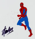 Animation Art:Production Cel, Spider-Man Production Cel signed by Stan Lee (Marvel, c. 1980s)....