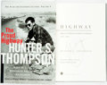 Books:Biography & Memoir, [Featured Lot]. [Hunter S. Thompson]. SIGNED. Douglas Brinkley,editor. The Proud Highway. The Fear and Loathing Letters...
