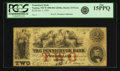Obsoletes By State:New Hampshire, Nashua, NH - Pennichuck Bank $2 Jan. 1, 1856 NH- 215 G4a. PCGS Fine 15PPQ.. ...