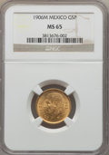 Mexico, Mexico: Republic gold 5 Pesos 1906-M MS65 NGC,...