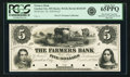 Obsoletes By State:Minnesota, Garden City, MN - Farmers Bank (1st) $5 October 10, 1858 MN-30 G8,Hewitt B120-D5. Proof. PCGS Gem New 65 PPQ.. ...
