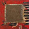 Fine Art - Painting, American:Other , Cynthia Chartiér, Artist. Asia Red on Piano. Mixed Media. 30x 30 inches (76.2 x 76.2 cm). ...