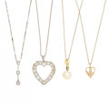 Estate Jewelry:Necklaces, Diamond, Cultured Pearl, Gold, White Gold Pendant-Necklaces. ... (Total: 4 Items)