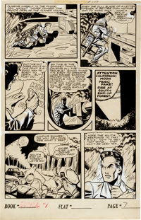 """Matt Baker Journey Into Fear #1 """"Preview of Chaos!"""" Page 7 Original Art (Superior Publishers, 1951)"""