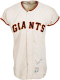 Baseball Collectibles:Uniforms, 1967 Willie Mays Game Worn San Francisco Giants Jersey, MEARS A8....
