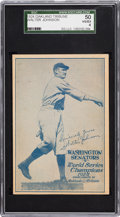 Baseball Cards:Singles (Pre-1930), Very Rare 1924 Oakland Tribune Walter Johnson Tribute Insert CardSGC 50 VG/EX 4. ...
