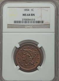 1854 1C MS64 Brown NGC. NGC Census: (116/110). PCGS Population (126/54). Mintage: 4,236,156. Numismedia Wsl. Price for p...