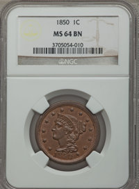 1850 1C MS64 Brown NGC. NGC Census: (136/128). PCGS Population (125/64). Mintage: 4,426,844. Numismedia Wsl. Price for p...