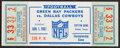 Football Collectibles:Tickets, 1966 NFL Championship Full Ticket Signed by Tom Landry - Packers Vs. Cowboys....