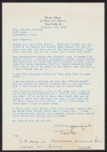 Football Collectibles:Others, 1959 Toots Shor Signed Letter To Conerly - W/ Lombardi Content....