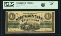 G. S. L. City, U.T. - Salt Lake City Corporation $1 Nov. 21, 1868 Rust 112, Nyholm 122, PCGS Very Fine 25