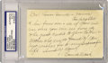 Autographs:Letters, Connie Mack Signed Index Card PSA Authentic. Connie Mack was aprofessional baseball player, but was best known as a manage...