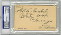Autographs:Letters, Ed Walsh Signed Postcard PSA Authentic. Breaking into the majors in1904, from 19.6 through 1912, Ed Walsh averaged 24 vict...