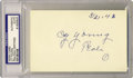 Autographs:Letters, Cy Young Signed Index Card PSA Authentic. Having won 30 in a seasonfive times and amassing more wins than any other pitche...