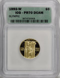 1992-W G$5 Olympic Gold Five Dollar PR70 Deep Cameo ICG. NGC Census: (755/0). PCGS Population (61/0). Mintage: 77,313. N...