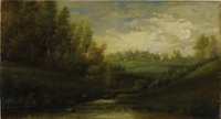ASA WESTON TWITCHELL (American 1820-1904) Landscape Oil on canvas 11 x 20-1/4 inches (27.9 x 51.4