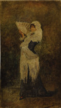 Fine Art - Painting, European:Antique  (Pre 1900), ITALIAN SCHOOL (Nineteenth Century). Portrait of a Woman with Fan. Oil on canvas. 14 x 8 inches (35.6 x 20.3 cm). Signed...
