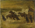 Fine Art - Painting, European:Other , CONTINENTAL SCHOOL (Twentieth Century). Pulling the BoatAshore. Oil on canvas. 15-1/2 x 20 inches (39.4 x 50.8 cm).Uns...