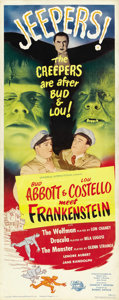 "Movie Posters:Horror, Abbott and Costello Meet Frankenstein (Universal International, 1948). Insert (14"" X 36""). ..."