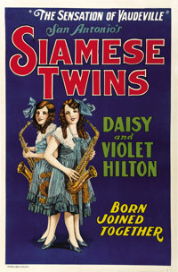 "Hilton Sisters - Siamese Twins (c. 1931). One Sheet (28"" X 42.5"")"