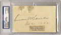 Autographs:Letters, Kenesaw Landis Signed Index Card PSA Authentic. Kenesaw MountainLandis was a U S Federal judge, appointed to the bench by...