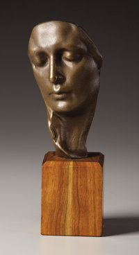 An American Bronze Face of a Young Woman Gutzon (John-Gutzon-de-la-Mothe) Borglum (1867-