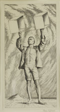 Prints:American, PAUL CADMUS (American 1904-1999). Youth with Kite. Etching.10-1/4 x 5-1/4 inches (26.0 x 13.3 cm). Signed in pencil at ...