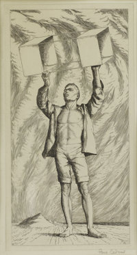 PAUL CADMUS (American 1904-1999) Youth with Kite Etching 10-1/4 x 5-1/4 inches (26.0 x 13.3 cm)