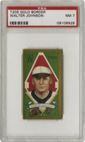 Baseball Cards:Singles (Pre-1930), 1911 T205 Gold Border Walter Johnson PSA NM 7. The gold border thatlends both its name and its beauty to this popular toba...