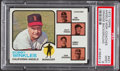 Baseball Cards:Singles (1970-Now), 1973 Topps Angels Mgr./Coaches (Orange Background) #421 PSA Mint9....