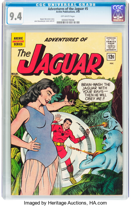 Adventures of the Jaguar #5 (Archie, 1962) CGC NM 9.4 Off-white pages....