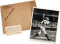 Baseball Collectibles:Others, Scarce 1934 Quaker Oats/Babe Ruth Baseball Club Promo Photo,Envelope and Thank You Card. ...