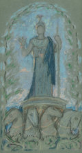 Fine Art - Work on Paper:Drawing, Elihu Vedder (American, 1836-1923). Study for Minerva, 1896.Pencil and chalk on green paper. 8-1/2 x 4-1/2 inches (21.6...