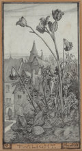 Fine Art - Work on Paper:Drawing, Elihu Vedder (American, 1836-1923). Twilight, November 10,1868. Pencil on paper laid on board. 5-1/4 x 3-1/4 inches (13...