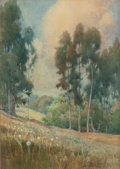 Works on Paper, Percy Gray (American, 1869-1952). Spring Landscape, 1911. Watercolor on paper laid on board. 15-1/8 x 10-7/8 inches (38....